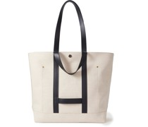 Leather-Trimmed Linen and Cotton-Blend Tote Bag