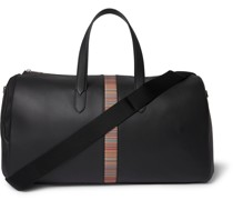 Stripe-Trimmed Full-Grain Leather Holdall