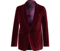Burgundy Butterfly Slim-fit Unstructured Velvet Tuxedo Jacket