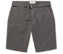 Julian Slim-Fit Garment-Dyed Cotton and Linen-Blend Shorts