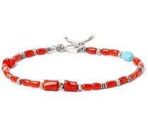 Coral, Turquoise and Burnished Sterling Silver Bracelet