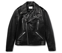 Padded Leather Biker Jacket