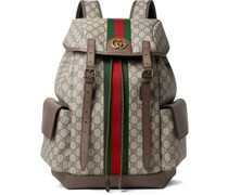 Ophidia Leather and Webbing-Trimmed Monogrammed Coated-Canvas Backpack