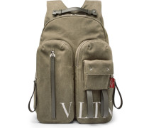 Vltn Leather-trimmed Canvas Backpack
