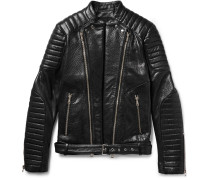 Quilted Textured-leather Biker Jacket