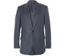 Blue Slim-fit Mélange Wool Suit Jacket