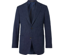 Checked Wool, Silk and Linen-Blend Blazer