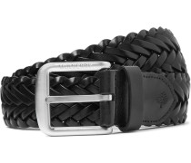 4cm Black Woven Leather Belt