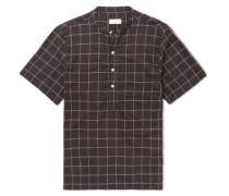 Dimitri Grandad-collar Windowpane-checked Modal And Silk-blend Shirt