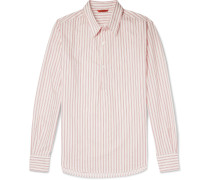 Slim-fit Striped Cotton-poplin Half-placket Shirt