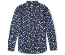 Slim-fit Button-down Collar Printed Cotton Shirt