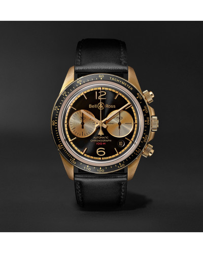 BR V2-94 Bellytanker Limited Edition Automatic Chronograph 41mm Bronze and Leather Watch