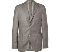 Brown Slim-fit Cashmere And Silk-blend Tweed Blazer