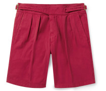 Manny Garment-Dyed Pleated Cotton-Twill Shorts