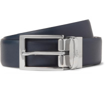 3cm Black And Navy Reversible Leather Belt