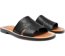 Logo-Perforated Leather Slides
