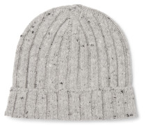 Mélange Ribbed Wool-blend Beanie