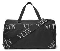 Logo Webbing-trimmed Nylon Duffle Bag - Black