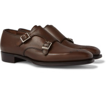 + George Cleverley Perforated  Leather Monk-Strap Shoes