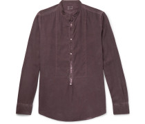 Grandad-collar Garment-washed Modal And Cotton-blend Shirt