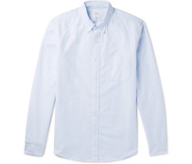 Slim-fit Button-down Collar Striped Cotton Oxford Shirt