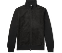 Slim-fit Suede And Wool Bomber Jacket