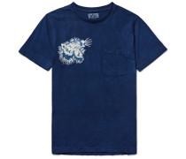 Printed Indigo-dyed Cotton-jersey T-shirt