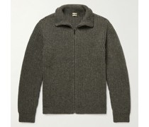 Bergen Ribbed Wool, Yak and Cashmere-Blend Zip-Up Cardigan