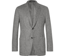 Grey Herringbone Slim-fit Wool And Cashmere-blend Blazer