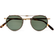 Wilson 46 Round-frame Tortoiseshell Acetate And Gold-tone Optical Glasses With Clip-on Uv Lenses