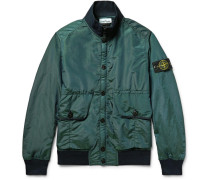Water-resistant Iridescent Shell Bomber Jacket