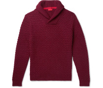 Slim-Fit Shawl-Collar Cable-Knit Cashmere Sweater