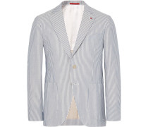 Blue Slim-fit Striped Cotton Blazer