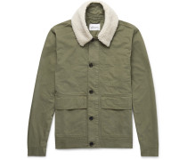 Faux Shearling-trimmed Cotton-twill Jacket