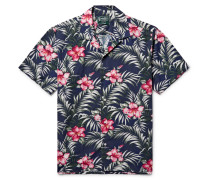 Camp-collar Floral-print Cotton-blend Shirt