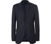 Blue Slim-fit Wool Travel Blazer
