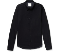 Panelled Stretch Wool-twill And Houndstooth Tweed Shirt