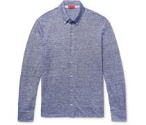 Slim-fit Button-down Collar Striped Slub Linen And Cotton-blend Shirt