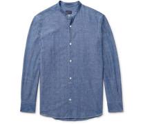 Slim-fit Grandad-collar Cotton-chambray Shirt