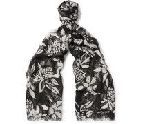 Hibiscus-print Cashmere And Silk-blend Scarf
