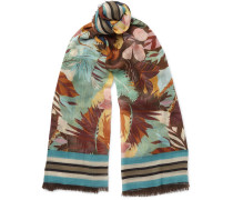Printed Cashmere, Silk And Wool-blend Scarf