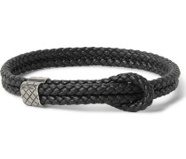 Intrecciato Braided Leather And Oxidised Silver Bracelet