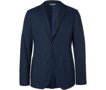 Navy Cotton-blend Blazer