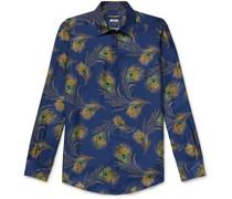 Slim-Fit Printed Silk-Twill Shirt