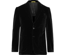 Kei Slim-Fit Unstructured Cotton-Velvet Blazer