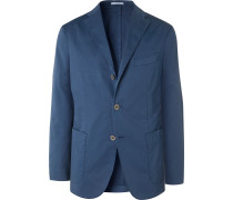 Green K-Jacket Slim-Fit Unstructured Stretch-Cotton Twill Suit Jacket