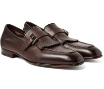 Burnished-leather Kiltie Loafers
