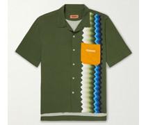 Camp-Collar Logo-Embroidered Printed Woven Shirt