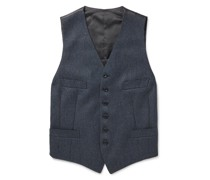 Conrad Slim-Fit Mélange Wool and Satin Waistcoat