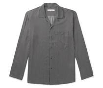 Slim-Fit Camp-Collar Striped Silk Shirt
